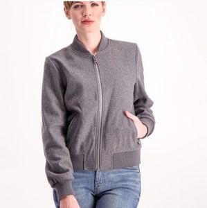 Levis Wool Ribbed Trim Full Zip Up Bomber Jacket